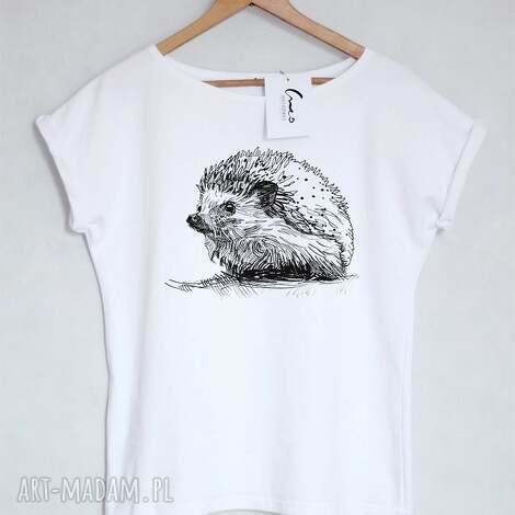 koszulki jeż koszulka bawełniana biała z nadrukiem s/m, koszulka, bluzka, nadruk