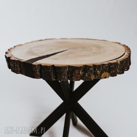 stoły stolik okrągły topolowy z plastra drewna korą i czarną żywicą, stolikkawowy
