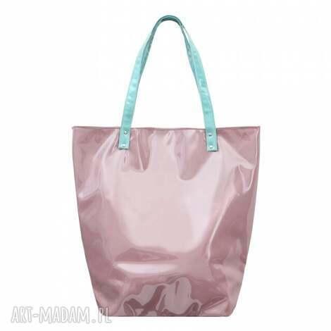 do ręki torba shopper neon pudrowy róż, duża, na plażę, pojemna, zakupy, modna