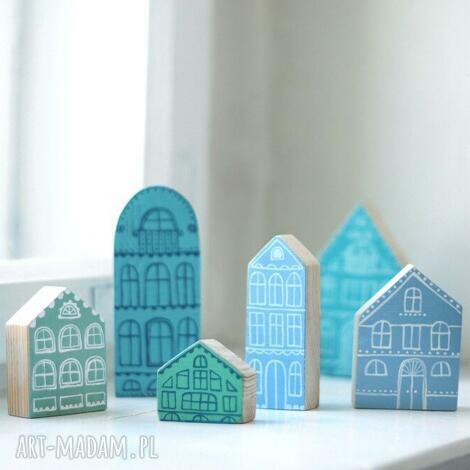 komplet 6 szt - niebieskie domki drewniane ręcznie malowane - domki z drewna, domek