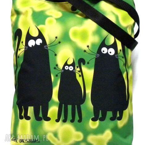 na ramię torba napę z kotami, koty, torba, pojemna torebki
