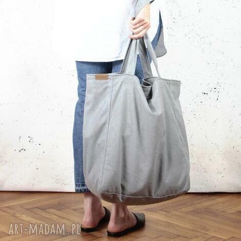 lazy bag duża, bawełniana, szara torba na zamek / vegan, bawełna, eco, solidna