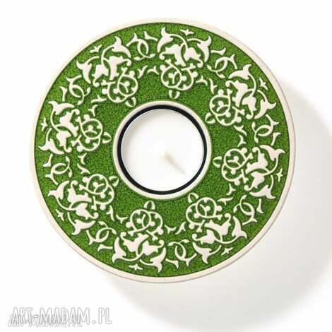 lampion roślinny ciemno-zielony w pudełku, lampion, ceramiczny, świecznik, prezent