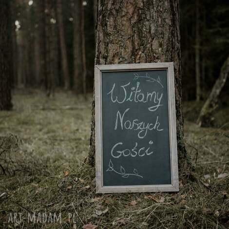 drewniana tablica do pisania / powitalna, wesele, rustykalne, drewniane, boho