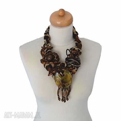 roarrr naszyjnik handmade - naszyjnik, kolia, wisior, brązowy, centki