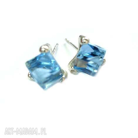 kolczyki wkrętki swarovski aquamarine srebrne kostki cube, wkrętki, srebro