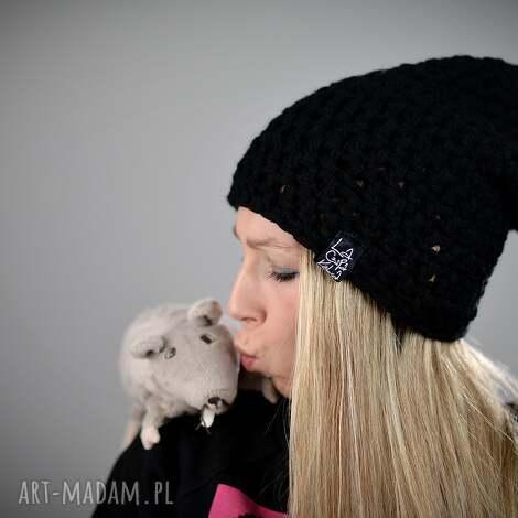 LaCzapaKabra: mono 01, czapka zimowa, czapka na narty, na zimę, ciepla, gruba