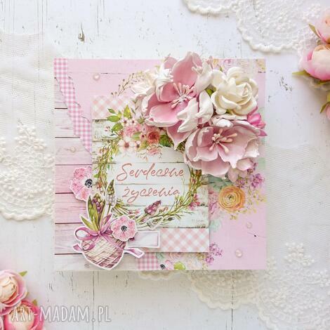 kartka serdeczne życzenia, w różu, kartka okolicznościowa