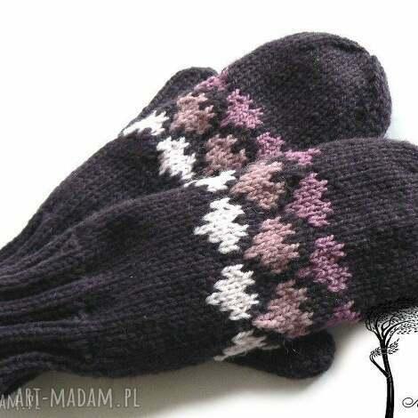 fioletowe jednopalczaste - rękawiczki, jednopalczaste, serce, walentynki, dziergane