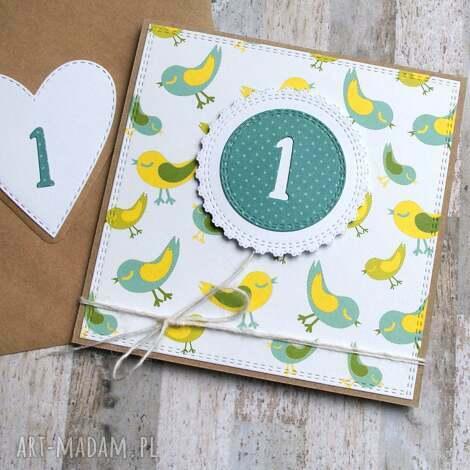kartki na roczek urodzinowa kartka ptaszki, roczek, urodziny