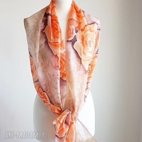 Malowany Jedwab: malowany jedwabny szal - pomarańczowe róże (malowany szal, w)