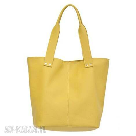31-0007 żółta torebka ze skóry naturalnej / efektowne przeszycia skylark