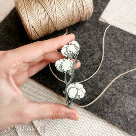 broszka gałązka bawełny (bawełna, drewno dębowe pin, kwiaty)