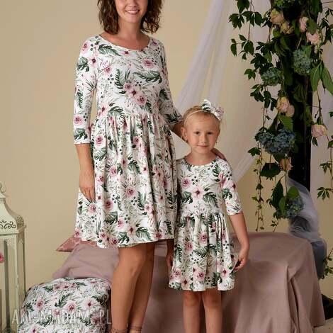 komplet sukienek lea dla mamy i córki rozmiar 40 68/74, kwiaty, sukienki dzianinowe