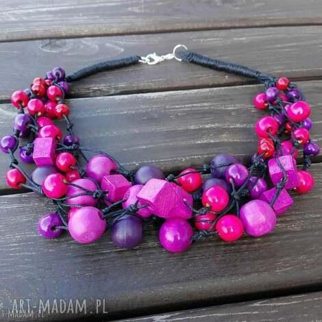 naszyjnik jagodwy - korale, naszyjnik, sznurek, drewno, ozdoba