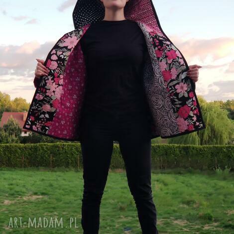 płaszcz patchworkowy krótki z kapturem - waciak - płaszcz kimono patchwork