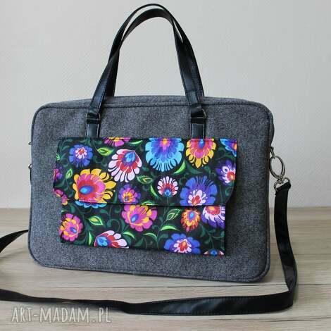 93fecd36af29d torebki niezwykle torba na laptop - tkanina szara i folk, elegancka,  nowoczesna