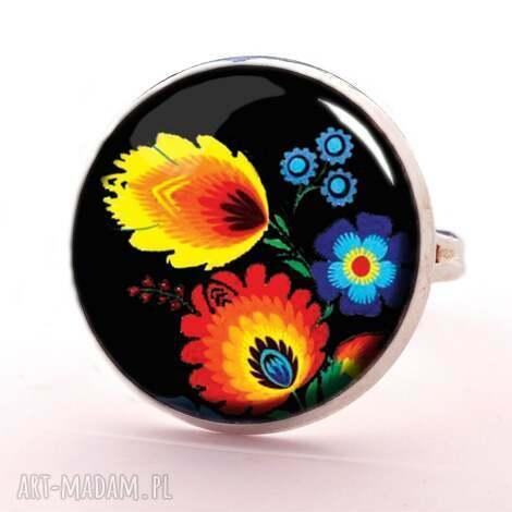 folk - pierścionek regulowany, folk, ludowe, kwiaty, pierścionek, kobiecy