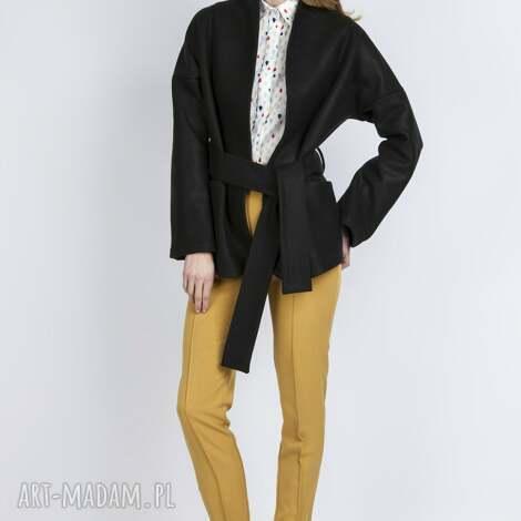 wełniany płaszczyk, za115 czarny wiązany, kieszenie, casual rękawy pasek