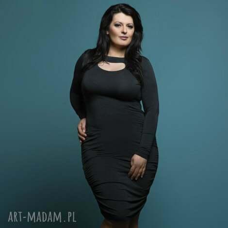 sukienka t160 z marszczeniami, ciemnoszara, size plus, sukienka, wiskoza, marszczenia