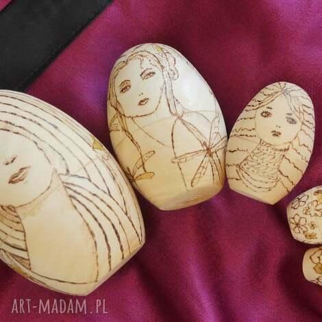 matrioszka melancholijna - ręcznie wypalana laleczka, matrioszka, wypalane, drewno
