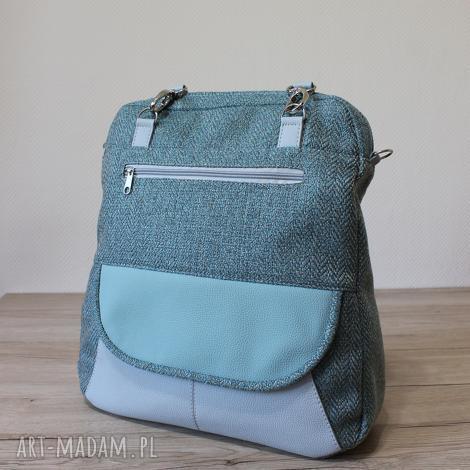 torebki niezwykle plecak torba listonoszka - tkanina w jodełkę aqua