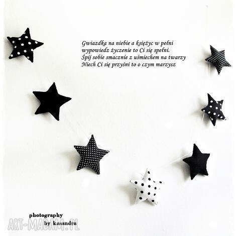 gwiazdeczki - girlanda wersja black white - gwiazdka, girlanda, gwiazdki