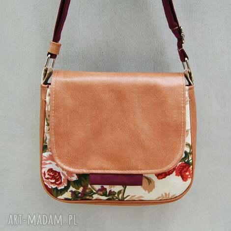 bambi - mała torebka kwiaty i beż, mała, wygodna, praktyczna, ekoskóra