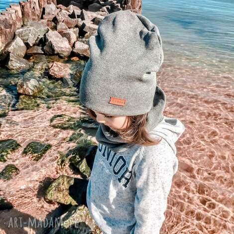 dla dziecka czapka i komin jasny szary libou, komin