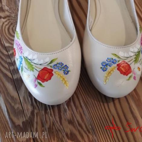 baleriny ani malowane w polne kwiaty, folk, ludowe, malowane, skórzane, kwiaty