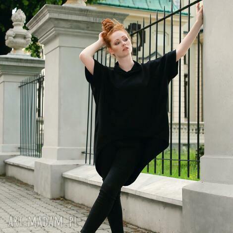 bluzy bluza damska tunika luźna asymetryczna czarna, bluza