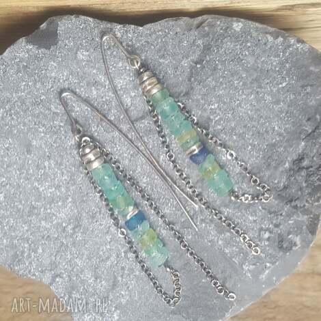treendy kolczyki ze srebra i antycznego szkła afgańskiego, kolczyki-srebrne