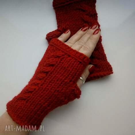 rękawiczki mitenki, na drutach, na dłonie, na prezent