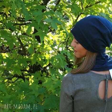 jesienna czapka z grubej dzianiny - czapka, czapki, dodrosły, dorosła, smerfetka