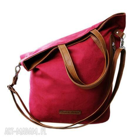 torba bordowy zamsz, shopper, duża, torba, torebka