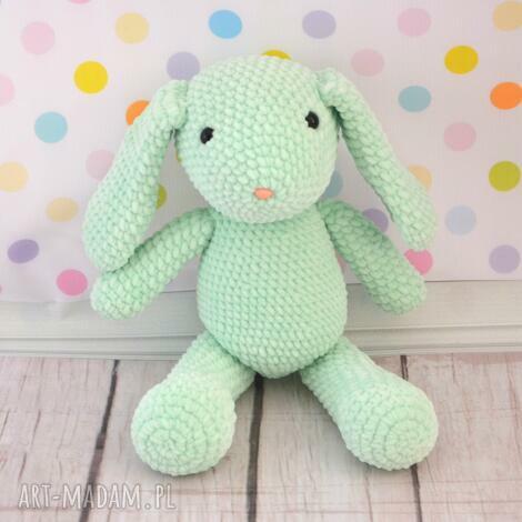 maskotki szydełkowy królik miętusek - mały, mięta, miętowy, królik, króliczek