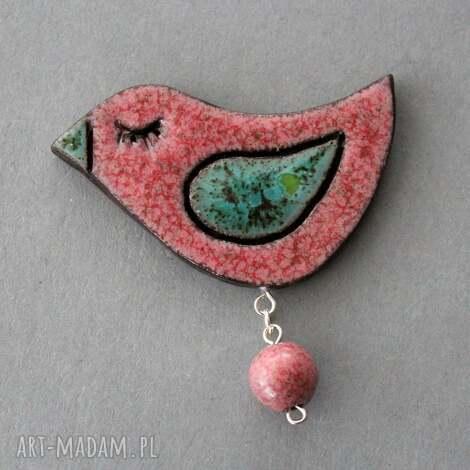 ptaszek-broszka ceramiczna, skandynawski, minimalizm design, święta, prezent praca