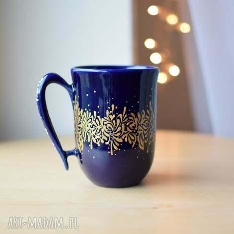 kubki kubek elegancki złoty kobalt, dla niej, ceramiczny
