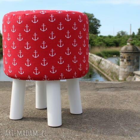 pufa czerwone kotwice - białe nogi 36 cm, puf, taboret, hocker, vintage, siedzisko