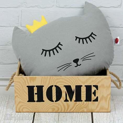 poduszka kotek z koroną -szary - kot, pokój dziecka, dla dziecka, poduszka ozdobna