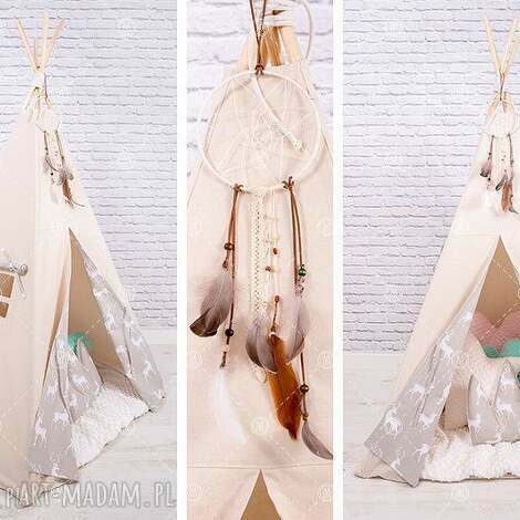 tipi namiot do pokoju lub ogrodu - beżowe jelonki - tipi, namiot
