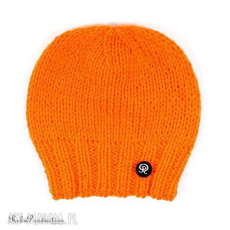 czapki czapka przy głowie - pomarańczowa, czapka, zima, krótka, dziergana, unisex