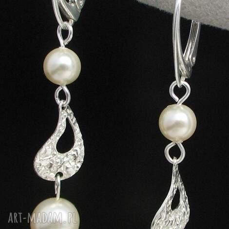 srebrny pyl subtelne perłowe kolczyki nie tylko na ślub, kolczyki, perły, swarovski