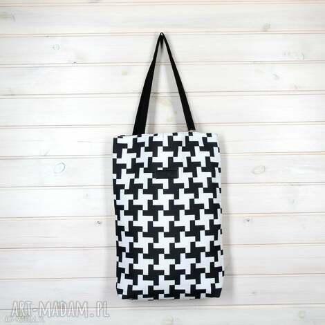 na ramię torba w pepitkę biała czarna, torebka, pepitka, kratka, pojemna