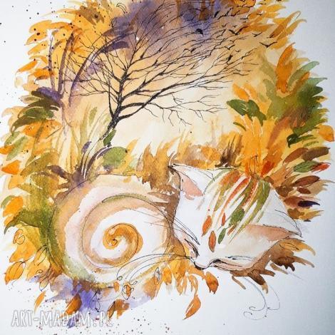 kot jesienny akwarela artystki adriany laube - jesień, obraz na papierze a3