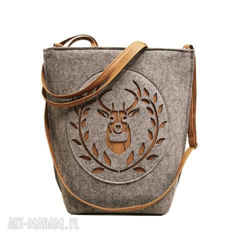 shopper bag folk godło skandynawia - shopper, duza, szara, filcowa, torba