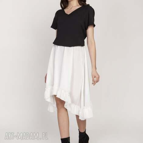lanti urban fashion spódnica z falbanką, sp125 ecru, zwiewna, falbany, podszewka