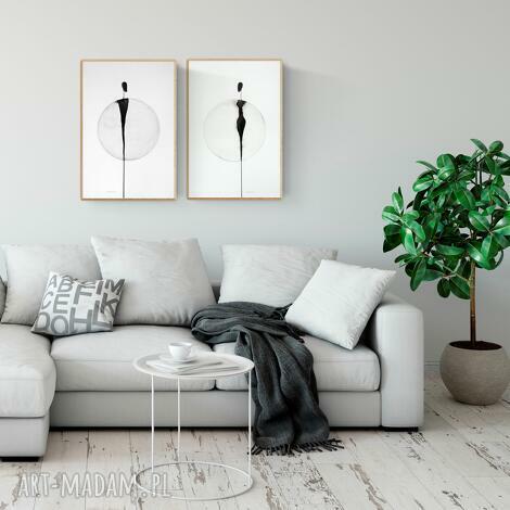 zestaw 2 obrazów 40 x 60 cm malowanych ręcznie, abstrakcja, minimalizm, minimalizm