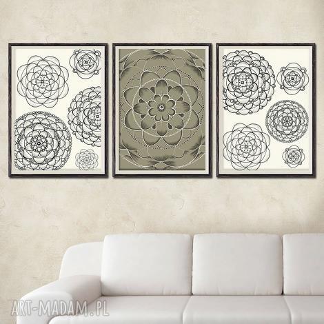 zestaw 3 prac a3, kwiaty, kwiat, kwiatki, łąka, pole, plakat dom
