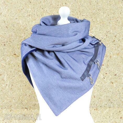 szal niebieski z granatowĄ skÓrĄ - chusta - szal, chusta, szalik, ciepły